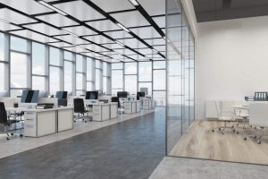 amazing open space office with Acoustical ceiling by laqfoil team Romania