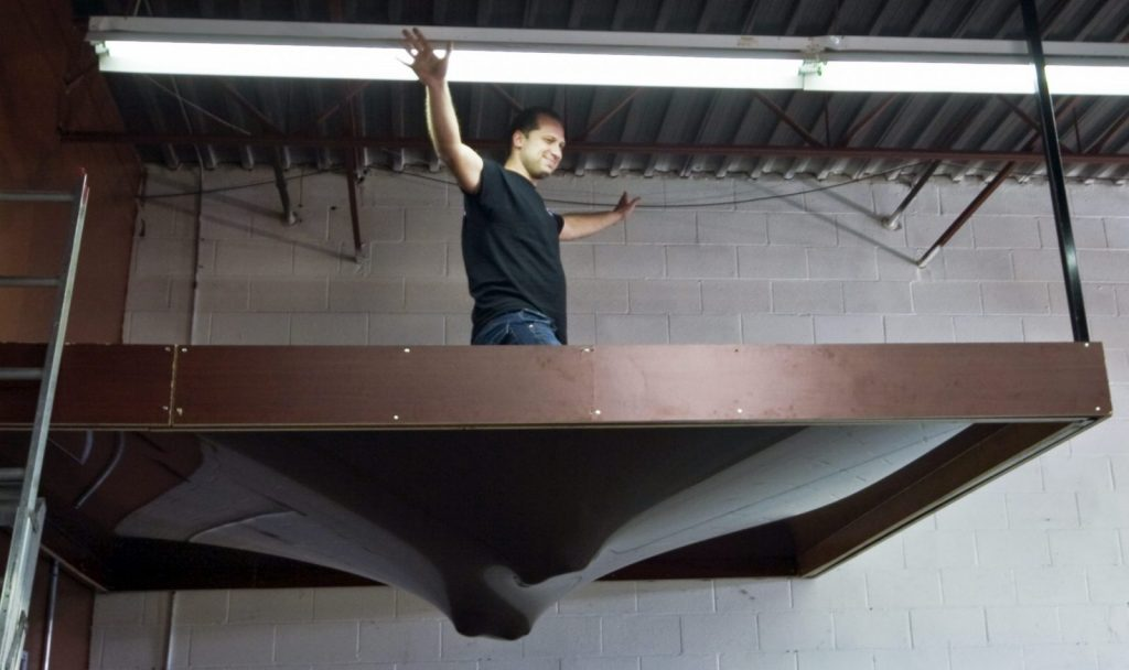 laqfoil team testing the stretch ceiling