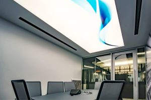 office with blue and white backlit 3d stretch ceiling