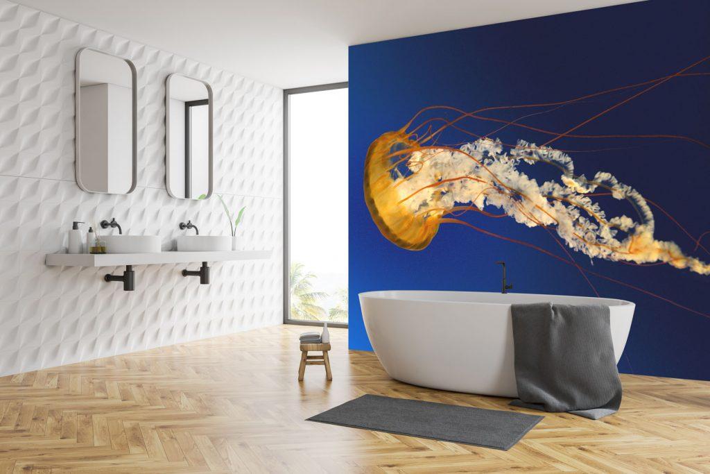 custom print wall murals in modern bathroom