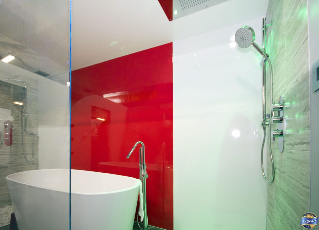 gloss stretch ceiling and custom wall cover in luxury bathroom london