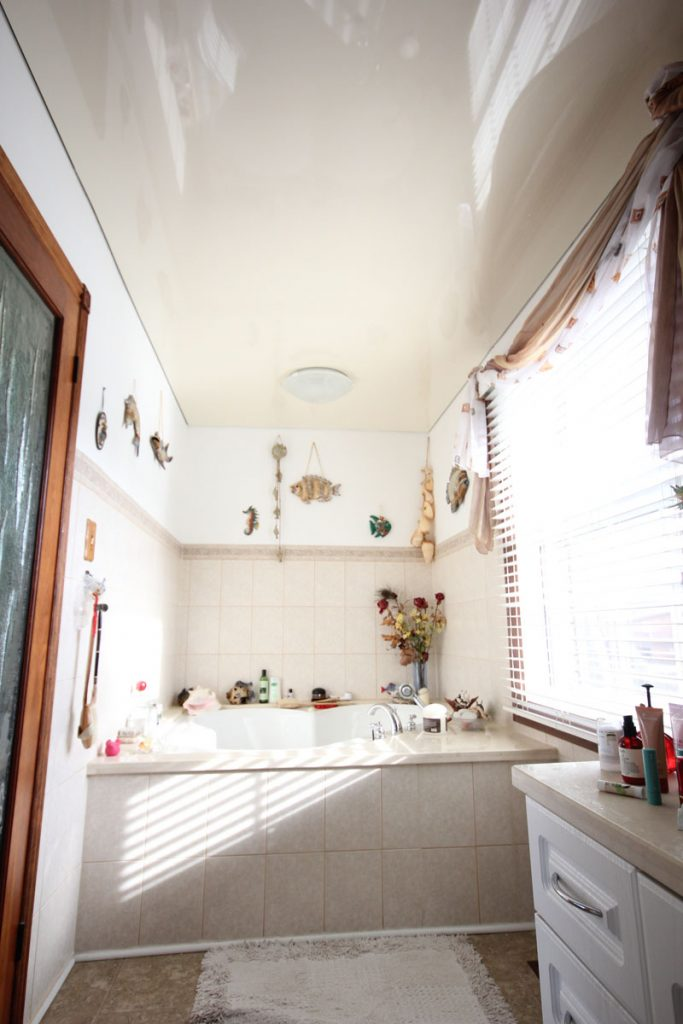 Small bathroom with white Reflective Ceiling new york