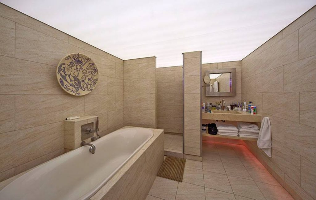 laqfoil bathroom with back lit floor and stretch ceiling led lights toronto