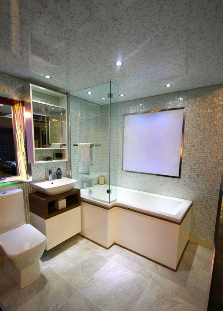 luxury bathroom with wall decor and printed high gloss stretch ceiling