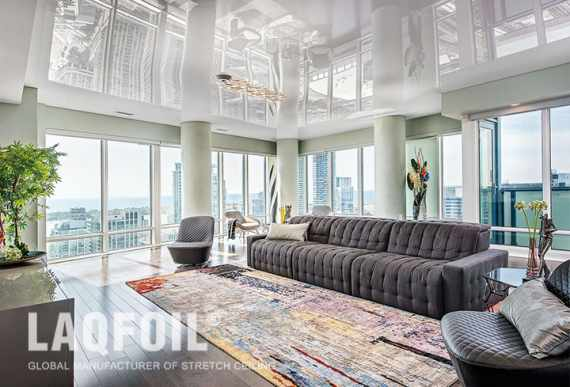 condo apartment with white reflective stretch ceiling