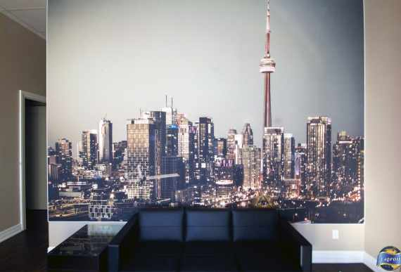 Toronto wall mural in luxury commercial building