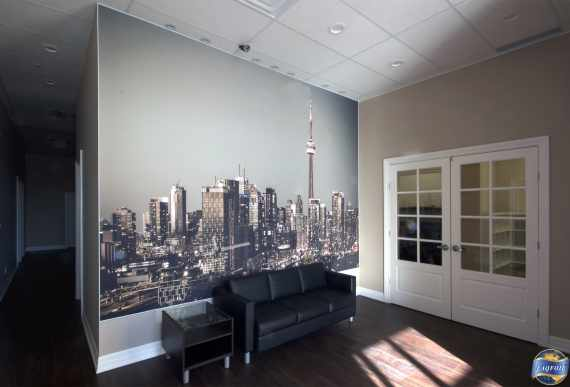 custom wall cover in commercial building