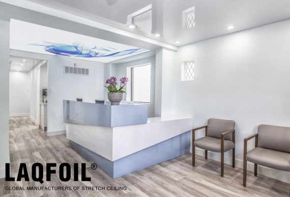 amazing Dentist clinic with high gloss stretch ceiling and back lit printed ceiling by laqfoil Toronto