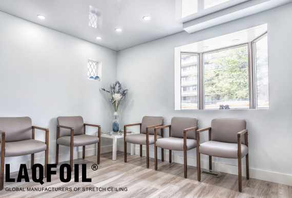 Dentist clinic waiting room with luxury high gloss stretch ceiling