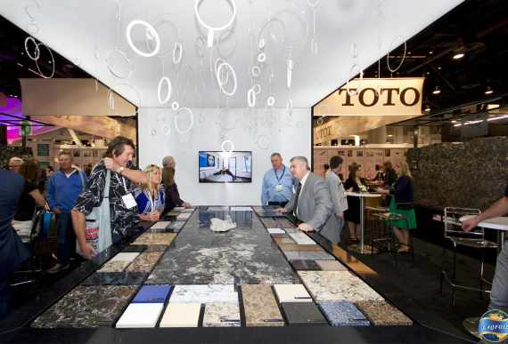 Cambria Custom Exhibit with Reflective White Stretch Ceiling