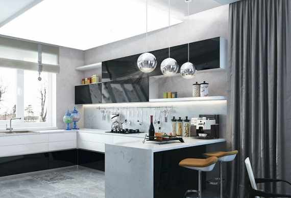 modern kitchen with backlit reflective ceiling