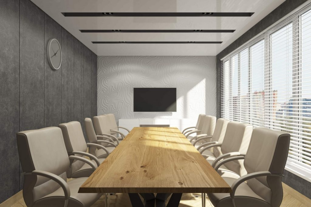 meeting room with reflective stretch ceiling glossy