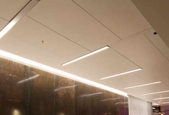Linear Lights Ceiling in outdoor hallway