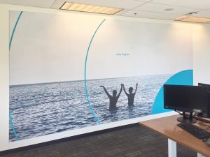 custom wall cover in office by laqfoil team
