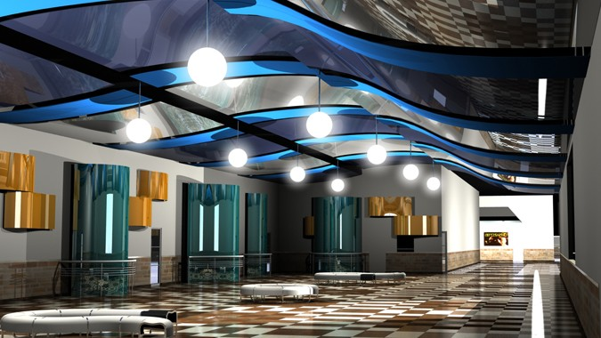Shopping Plaza with blue and gray stretch ceiling Modular Structures