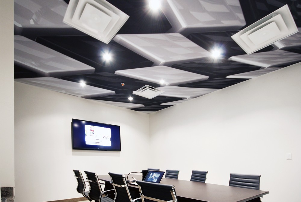 black and white Modular Structures and 3d stretch ceiling in office