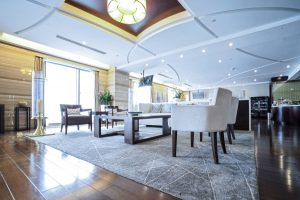 Multilevel Stretch Ceilings in luxury lobby room