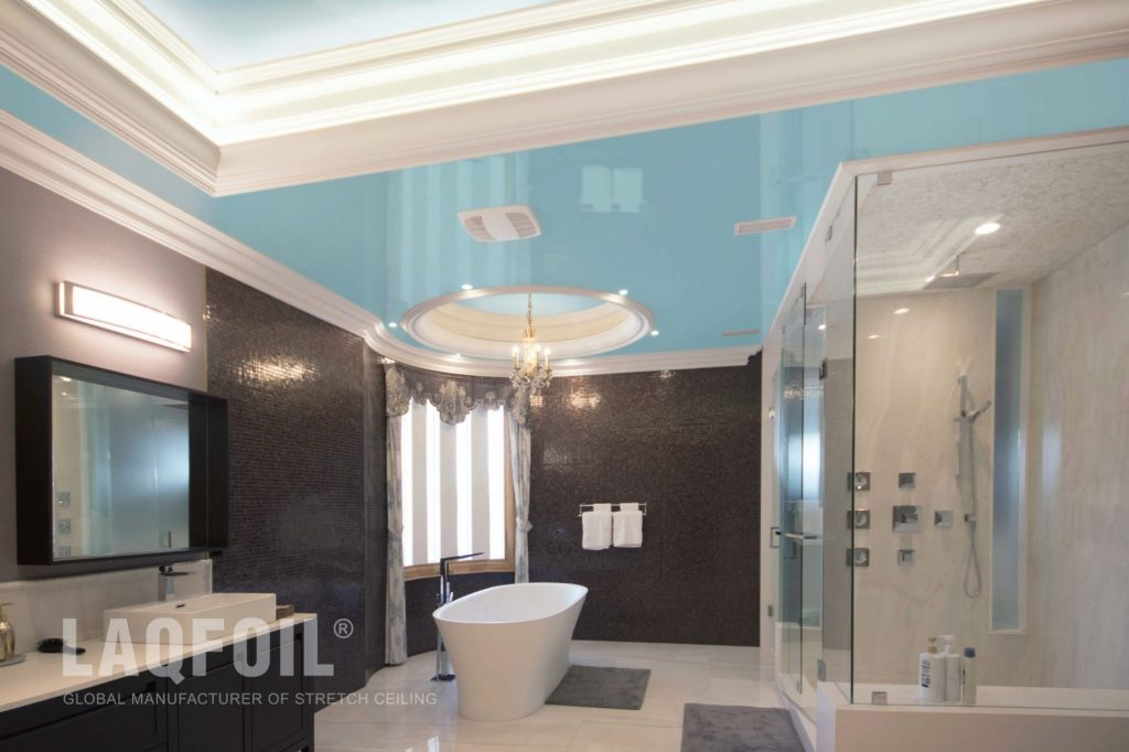 amazing bathroom with multilevel reflective stretch ceiling