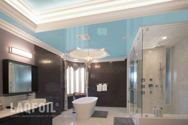reflective stretch ceiling in custom bathroom