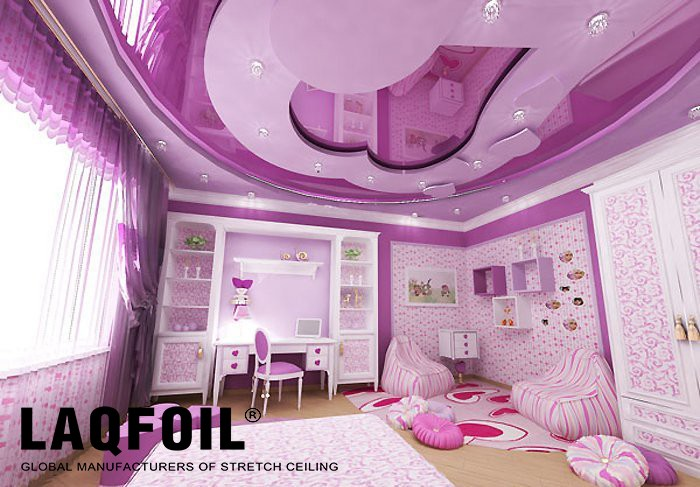 kids room in pink with reflective Multilevel Stretch Ceilings