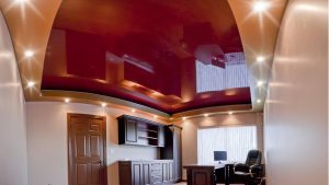 home office with red reflective Multilevel Stretch Ceilings