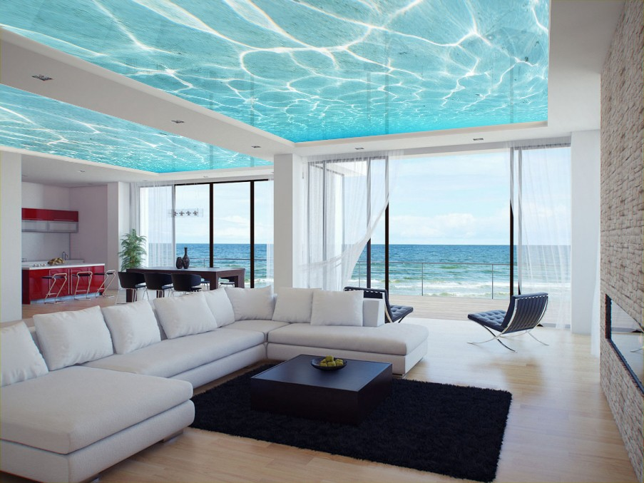 reflective Printed stretch ceilings of water in luxury living room