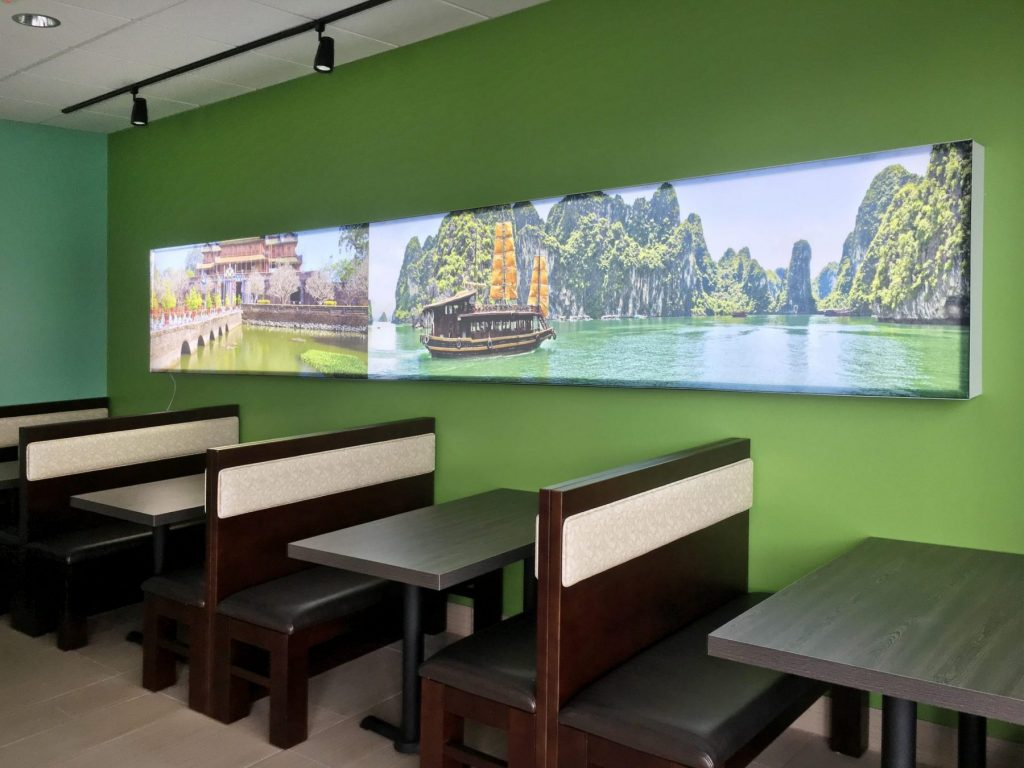 back lit printed wall mural in amazing Pho Saigon Noodle House