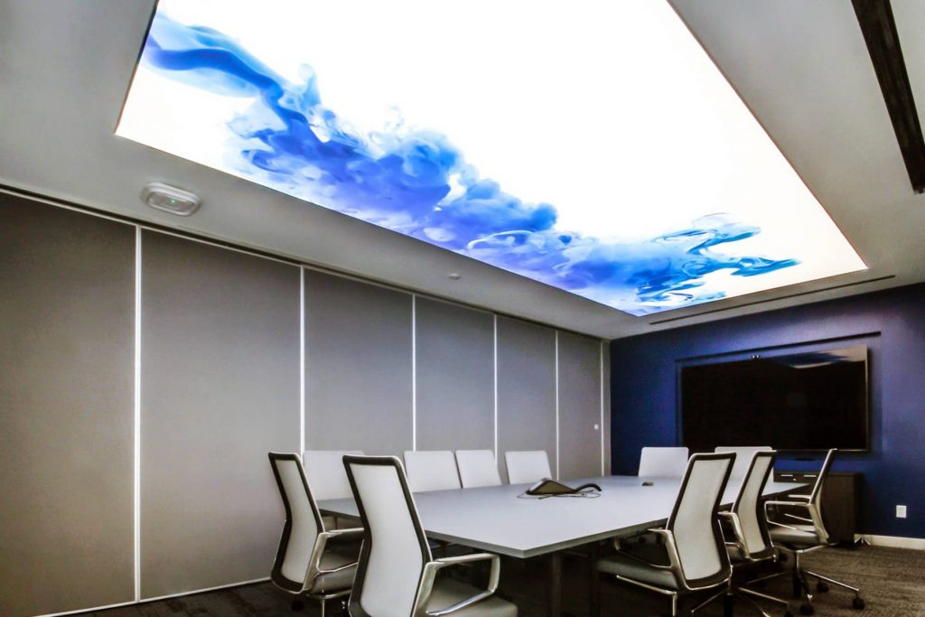 office with custom Printed stretch ceilings