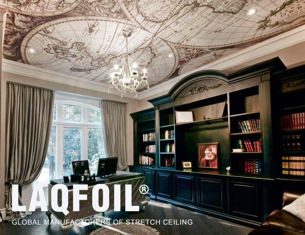 luxury home office with printed ceiling by laqfoil team aurora