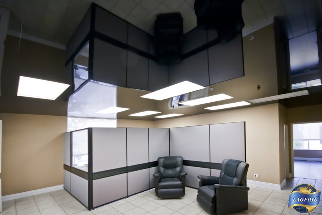 reflective high gloss stretch ceiling in modern office