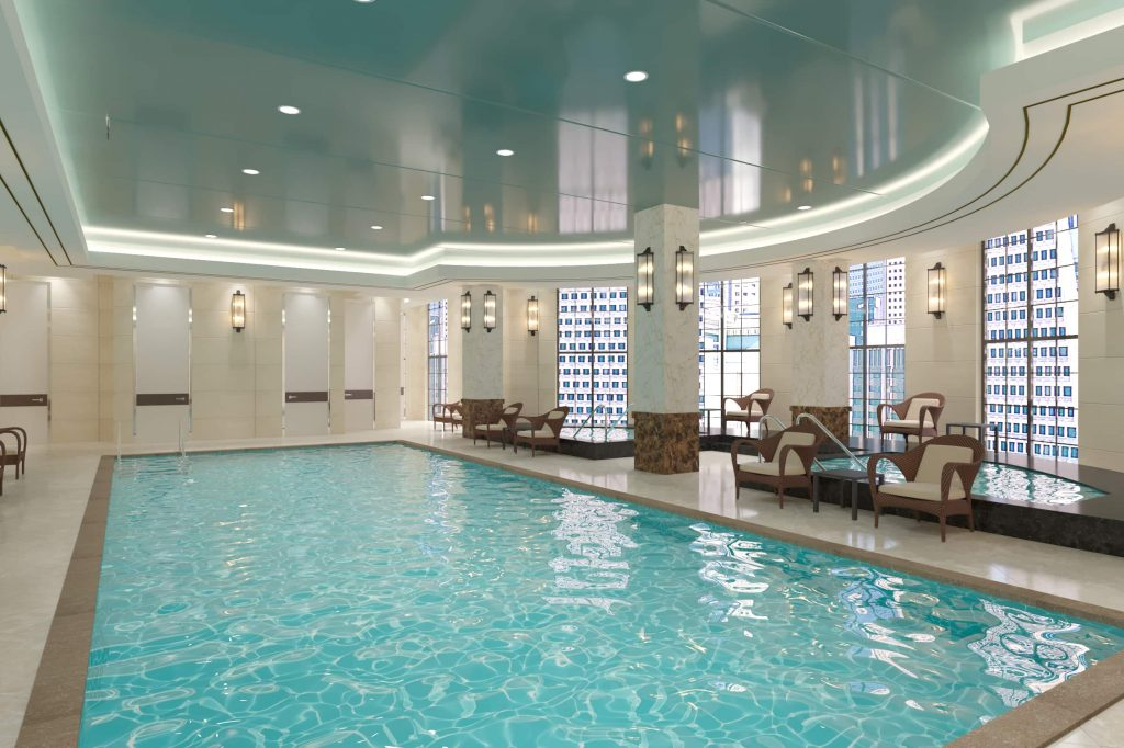 custom swimming pool with reflective stretch ceilings