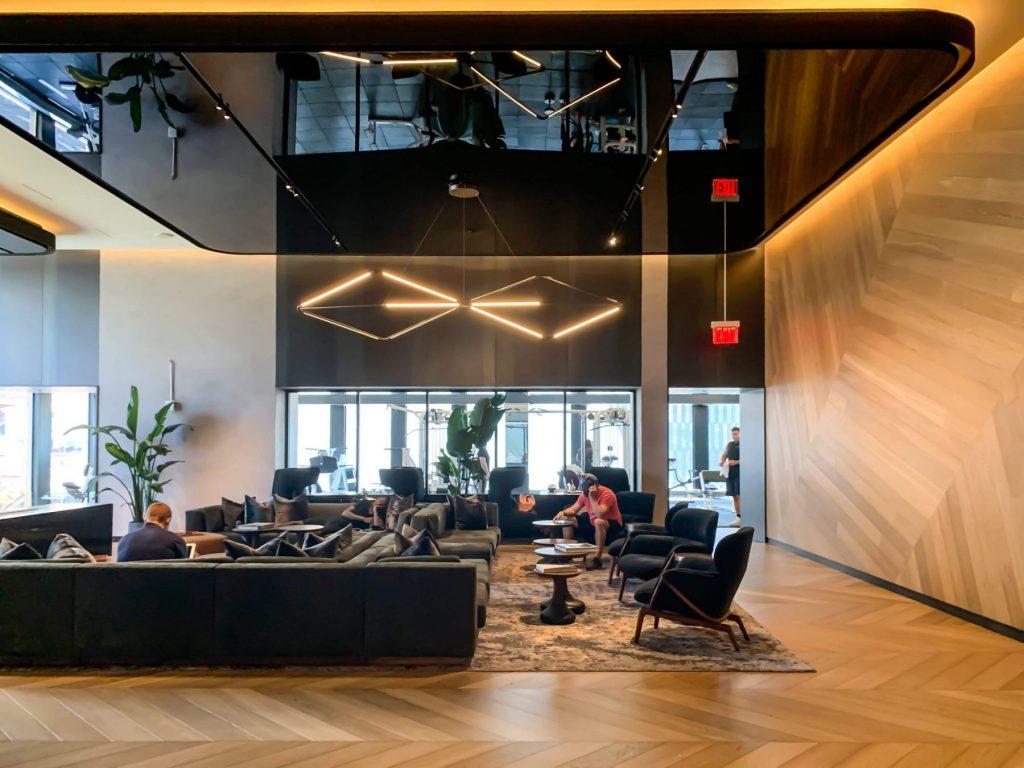 stretch ceiling glossy in luxury lobby