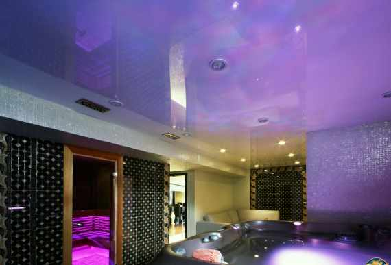 Glossy Purple Stretch Ceiling in Basement  Jacuzzi Room