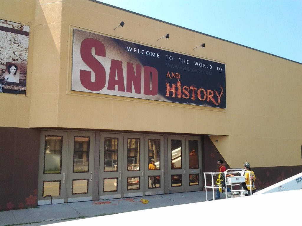 banner with stretch fabric graphics for sand and history