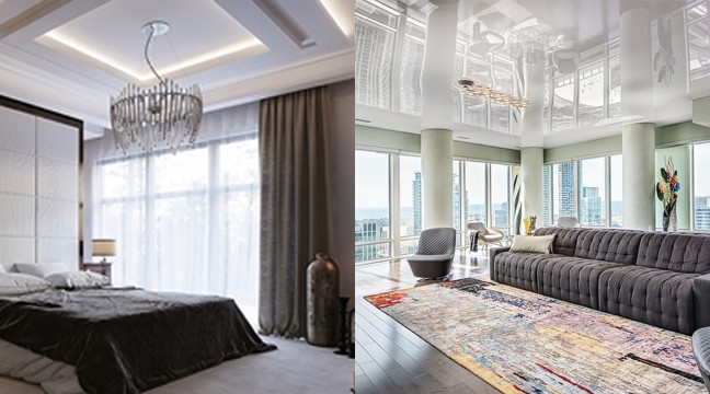 luxury rooms with reflective backlit stretch ceiling