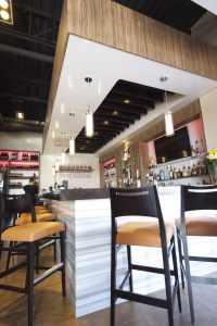 multilevel stretch ceiling over a bar