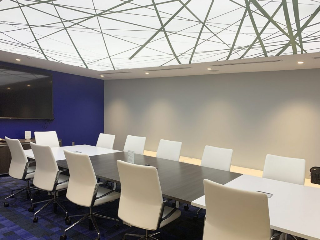 TLS Brokerage office with backlit white stretch ceiling