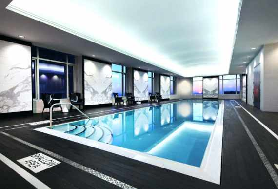 custom swimming pool with luxury backlit reflective stretch ceiling