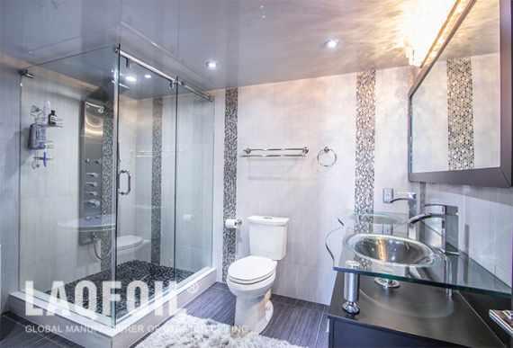 Modern Washroom with Reflective Stretch Ceiling Toronto
