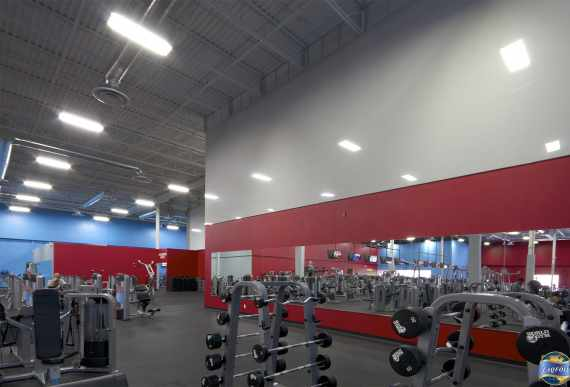 amazing gym with gray and red custom wall cover