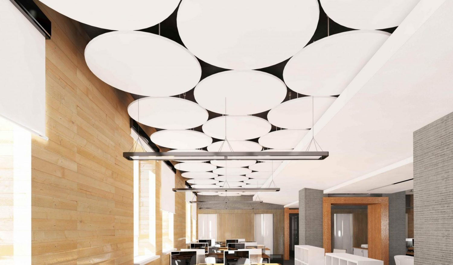 acoustical improvement with stretch acoustic ceiling