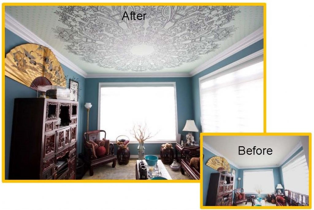 before and after photo of living room with new Perforated Ceiling