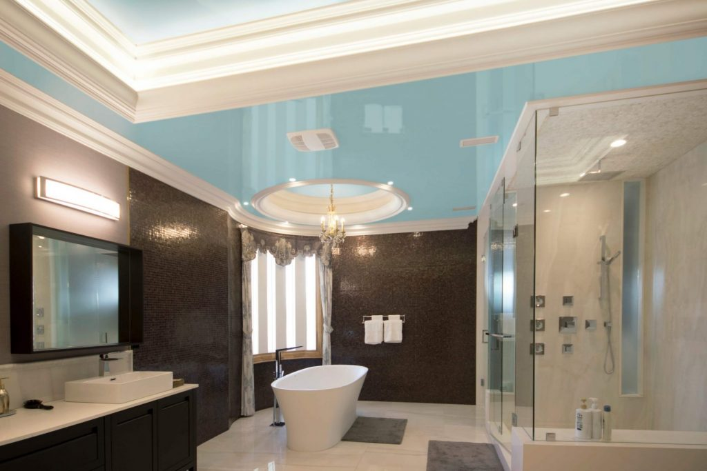 custom bathroom with stretch ceiling glossy