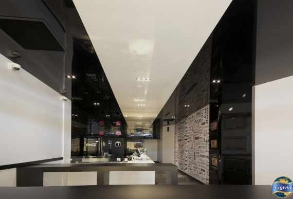 two tone black and white high gloss stretch ceiling