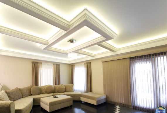 amazing waffle backlit ceiling with matt stretch ceiling
