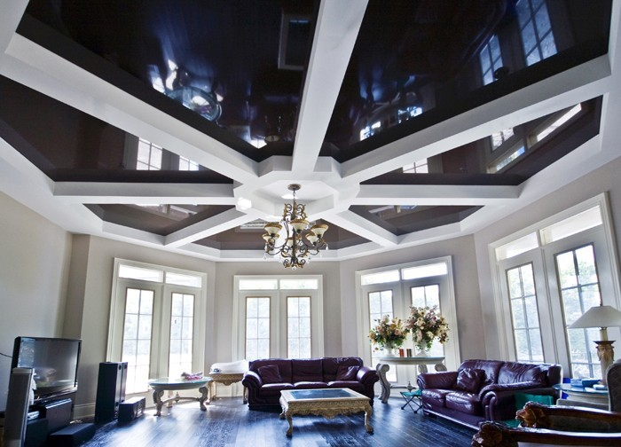 custom home with amazing waffle reflective stretch ceiling in family room by laqfoil team