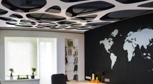 amazing home office with custom printed ceiling and amazing printed wall mural by laqfoil team