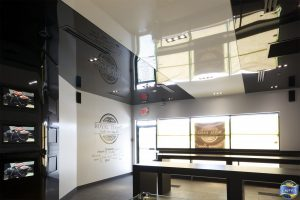 two ton white and black color reflective stretch ceiling in luxury restaurant Canada