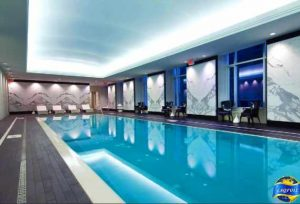 back lit reflective stretch ceiling and printed wall murals in amazing pool by laqfoil