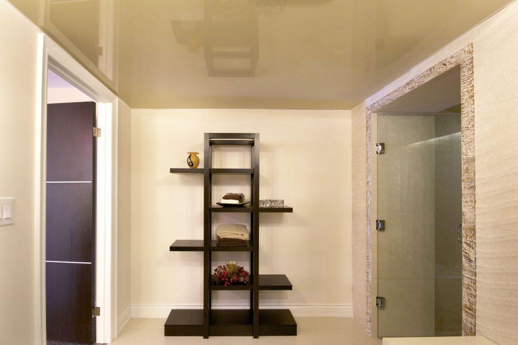 beige high gloss stretch ceiling in custom bathroom vancouver